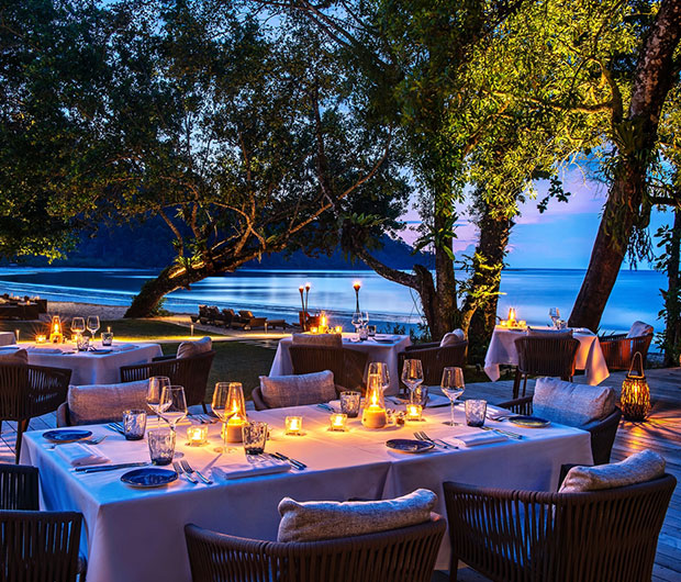 THE DATAI LANGKAWI, MALAYSIA outdoor dining by candlelight