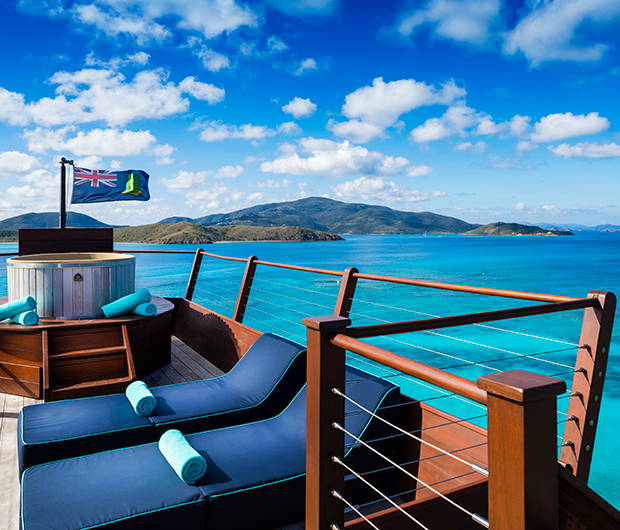 NECKER ISLAND, BRITISH VIRGIN ISLANDS sunbeds and sea