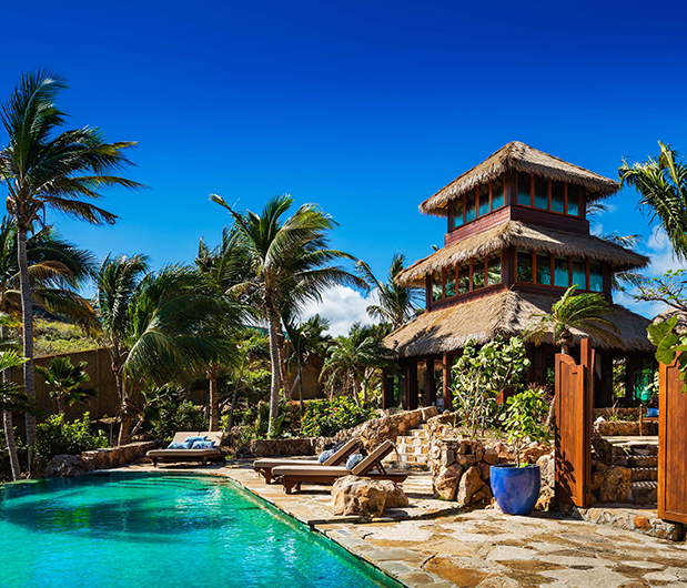 NECKER ISLAND, BRITISH VIRGIN ISLANDS poolside and hotel