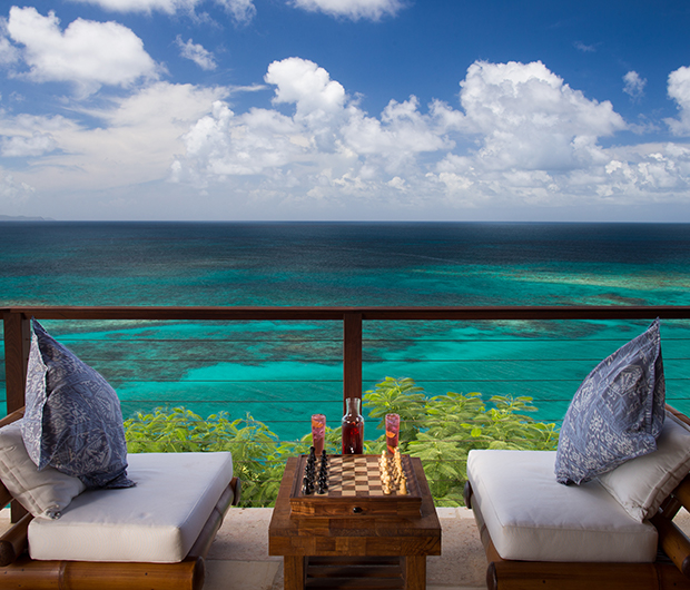 NECKER ISLAND, BRITISH VIRGIN ISLANDS seating and ocean view