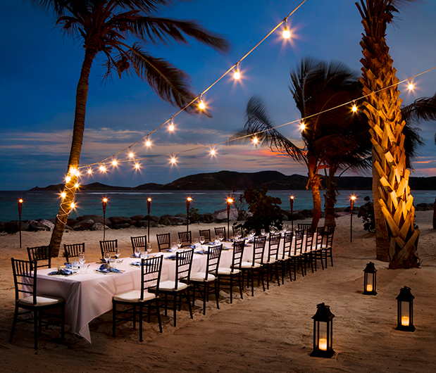 NECKER ISLAND, BRITISH VIRGIN ISLANDS beach dining